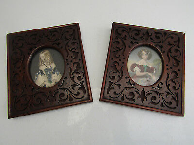 Antique Pair Of Small Dark Wood Carved Fretwork Picture Frames Victorian Era