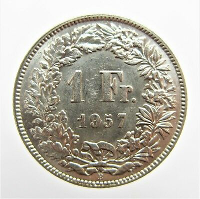 Switzerland 1957 Silver 1 Francs Mintmak B
