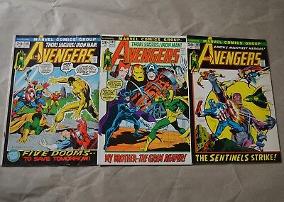 Lot Of 3 Avengers Comic Books (Marvel, 1972) #101, 102,103