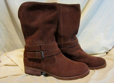 2c279db6605  sale  Womens Crown Vintage Brown Ankle Slouch Suede Boots Booties 8 M  s6
