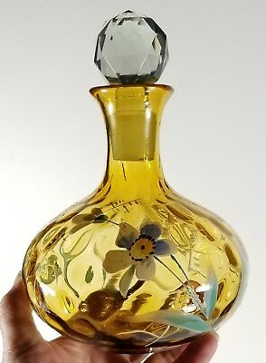 Antique Victorian Mouth Blown Hand Painted Amber Decanter w Pontil 7.5 Inch EXC