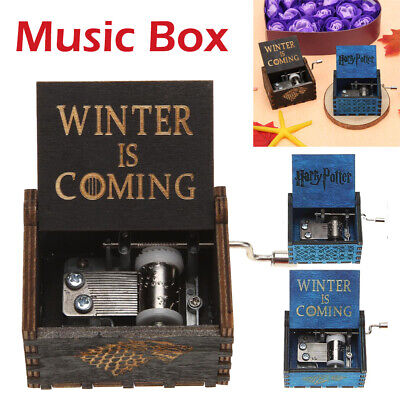 Antique Carved Wood Hand Crank Music Box Birthday Kids Xmas Gifts Ornament Decor