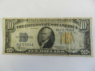 Series Of 1934 A $10 Silver Certificate Yellow Seal