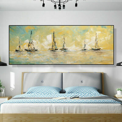 VV714# Hand-painted Scenery oil painting Boats Modern Home decor art Canvas
