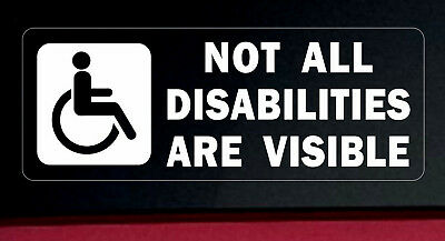 3 x Warning Stickers Signs Not All Disabilities Are Visible Disabled Car Vehicle