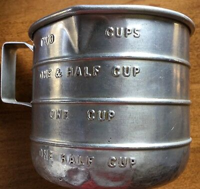 Vintage aluminum 2-cup measuring cup w/ riveted handle & two pouring spouts