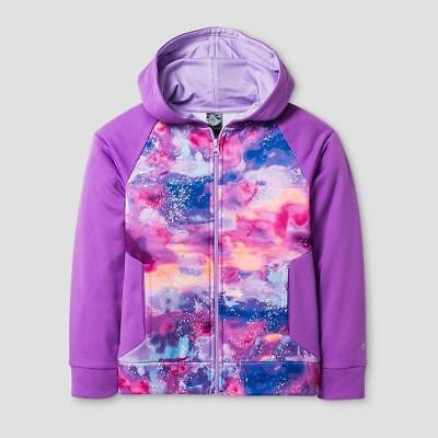C9 Champion Girls' Printed Tech Fleece Full Zip Hoodie Clouds Print Purple - XS