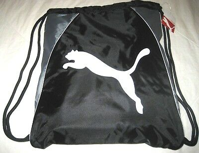 33014daf7b22 Puma Cat Drawstring carry sack Gym Bag Grey White Black Logo NWT Ships Free