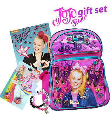 "JoJo Siwa 16"" Large School Girl Backpack w/ Coloring Book And jewelry Gift Set"