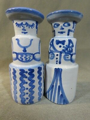 "M.A. Hadley Pottery Bride & Groom Wedding 5-3/4"" Candle Stick Holders Stoneware"