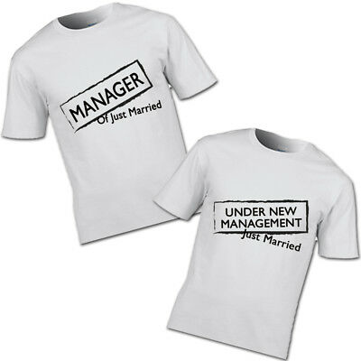 04a20046 Manager and under new management just married t-shirt couples partners  wedding