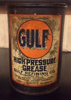 Auth & Orig 'Gulf Refining Co' Oil & Gas 1/2 Full 1lb HIGH PRESSURE GREASE Can