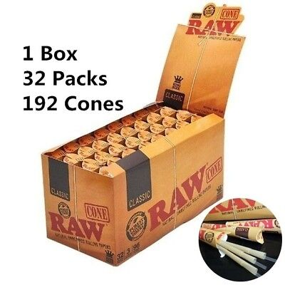 RAW 1 1/4 ORGANIC HEMP PRE_ROLLED CONES Full Box of 192 Cones; 32 Packs per Box