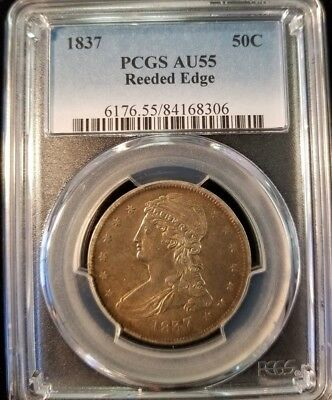 1837 Capped Bust Half Dollar 50C Pcgs Au55 Reeded Edge High Grade Beauty !!!