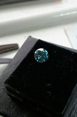 0.80 CT 6 MM Intense Blue Round Excellent Diamond Cut Real Moissanite 4 Ring