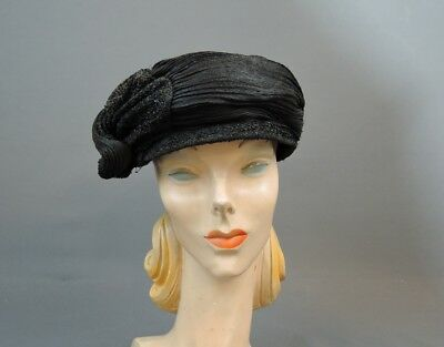 Vintage 1910s Hat, 1920s Black Straw Hat, Antique Fabric As Is Edwardian Hat