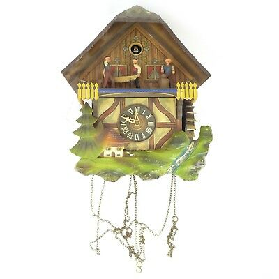 """Vintage Antique GERMAN Made Wooden Animated Cuckcoo Clock 11.50"""" (FOR PARTS)"""