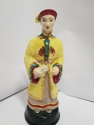 """Vintage Antique Chinese Japanese Porcelain Figurine statue scroll 8"""""""
