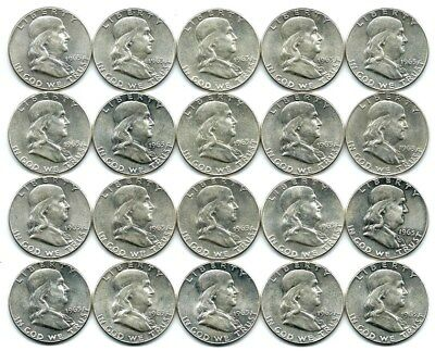 Roll Of 20 Silver 1963 Us Franklin Half Dollars $10 Face Value Uncirculated