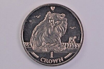 1995 Isle of Man Cat One Crown .99c NO RESERVE