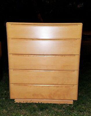 Mid-Century Modern Heywood Wakefield Encore Yellow Birch Tall Dresser, Wheat
