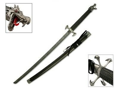 Fantasy Dragon's Tongue Samurai Katana Sword W/Dragon Head Pommel (FREE Stand)