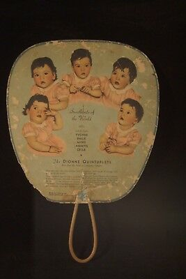 Vtg Hand-Held Fan Advertising The Dionne Quintuplets Callander, Ontario 1936