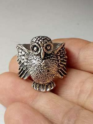 Chinese Collectable Tibet Silver Hand Carved Owl Ring   Z931