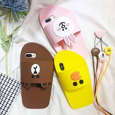 3D Bear Rabbit Cute Cartoon Silicone Phone Case Cover For iPhone X 8 7 6S Plus