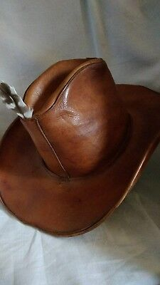 """Antique Moose-Hide Mountain Man Leather Great North Western Cowboy Hat  6 7/8"""""""