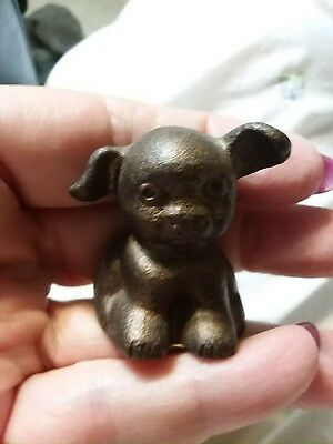 VTG 1920s Cast Iron Fido Pup Dog Mini Paperweight Hubley copper? Brn ADVERTISING