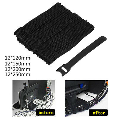 50pcs Reusable Nylon Strap Hook Loop Network Cable Cord Wire Ties Tidy Organizer