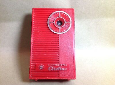 VTG Airline Six Transistor Pocket Radio Red -Working Condition-Montgomery Ward