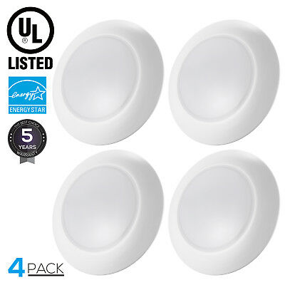 6 Inch Dimmable Retrofit LED Disk Light Flush Mount Ceiling Light, 3000K, 4 Pack