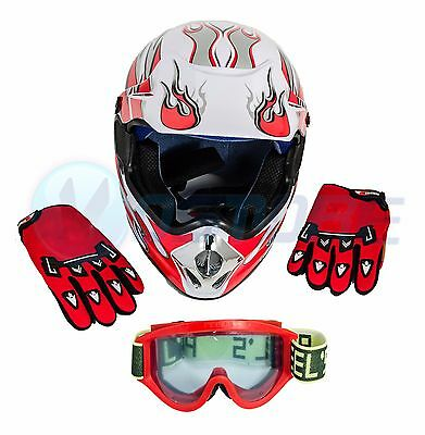 Unisex Adult DOT Motorcycle Helmets+Goggles+Gloves Motocross Off-Road Racing BCL