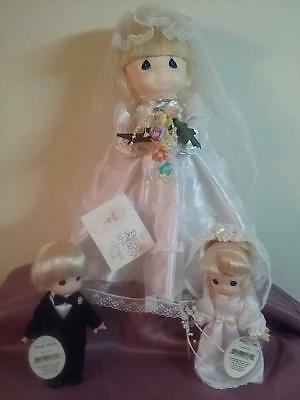 """Precious Moments 20"""" Bride Doll """"Jessie"""" and Little Bride and Groom"""