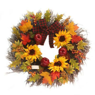 Artificial Wreath Fall Sunflower Maple Leaves Garland Christmas Pendant Decor