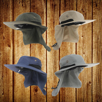 Fishing Hiking Outdoor Brim Neck Cover Bucket Boonie Sun Flap Hat Bush Cap