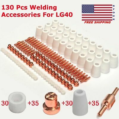 130pcs Plasma Cutting Consumables, Cutter Electrode Nozzle Tip Extension New TO