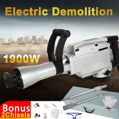 1900W Demolition Jack Hammer Commercial Grade Concrete Electric Tool 2 Chisels