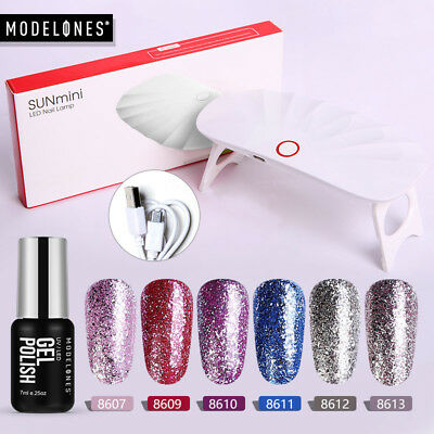 Modelones UV Nail Dryer Lamp 6 Color Set Gel Nail Polish Nude Series Starter Kit