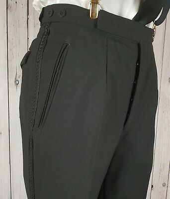 Vintage Black 1960s Braided Button Fly Wool Trousers W30 L32 GX12