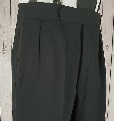 Vintage Black 1960s Braided Button Fly Wool Trousers Brace Buttons W35 L30 GX13