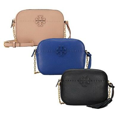 dcdc4d89f25a Tory Burch McGraw Camera Bag Women Crossbody Chain Tassel Handbag Leather  NWT