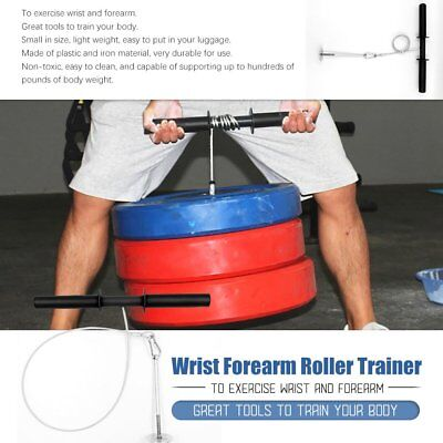 Steel Wire Wrist Forearm Roller Exercise Weights Strength Gym Bar Arm 10C