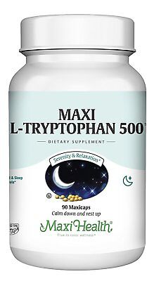 Maxi Health L-Tryptophan 500mg - Pharmaceutical Grade - Mood & Sleep Formula...