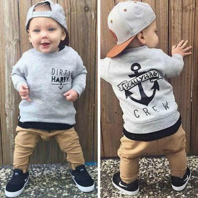 2pcs Toddler Baby Boy Long Sleeve T-shirt Tops+Pants Outfits Kids Cotton Clothes