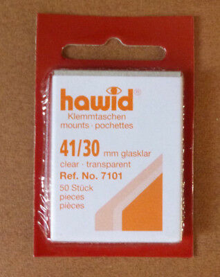 HAWID STAMP MOUNTS CLEAR Pack of 50 Individual 41mm x 30mm - Ref. No. 7101