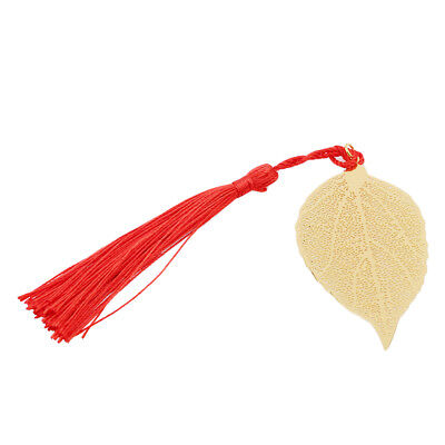 Brass Metal Bookmark Creative Golden Leaves with Tassel for Book Reading Gift DT