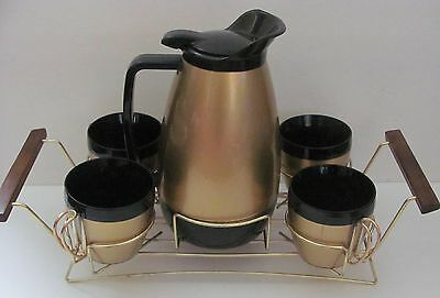 Vtg Atomic Gold Mid-Century Thermo Insulated Coffee Service Set with Tray